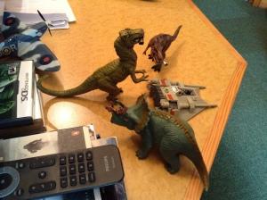 Dinosaurs meet.